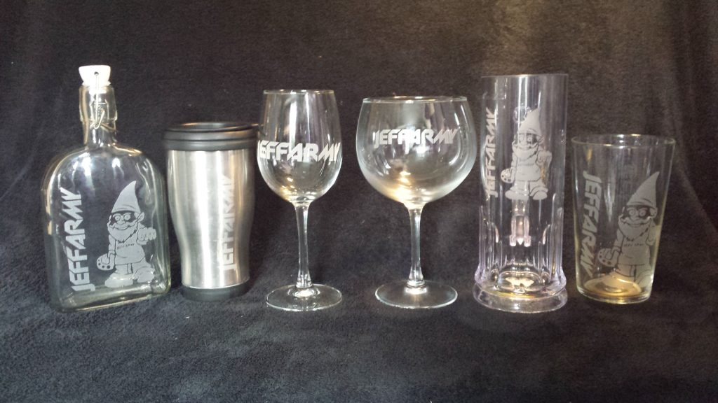 A sample set of various drinksware created for a fan group